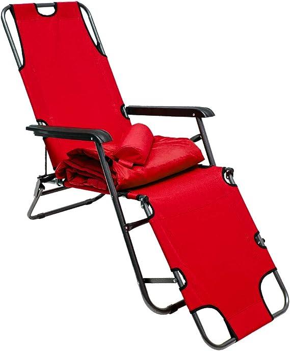 AMANKA Tumbona Plegable | Cómoda Silla de Playa con Acolchada Amovible 178 cm + Reposacabezas + Reposapiernas + Respaldo Reclinable | Rojo: Amazon.es: Jardín