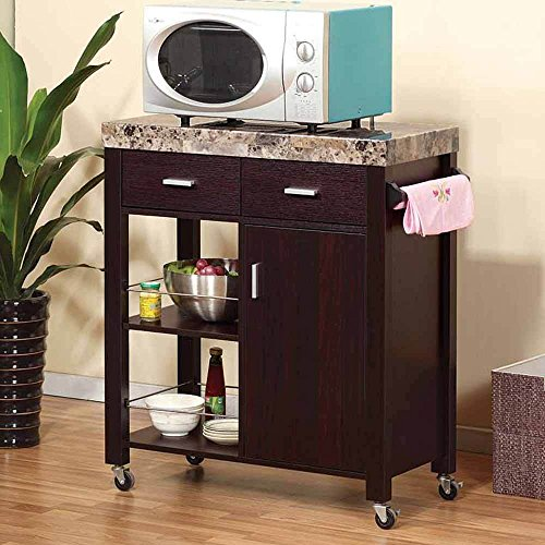 1PerfectChoice Kitchen Island Buffet Serving Cart Cabinet Drawer Faux Marble Top Wood Red Cocoa (Kitchen Cabinet Faux Drawer compare prices)