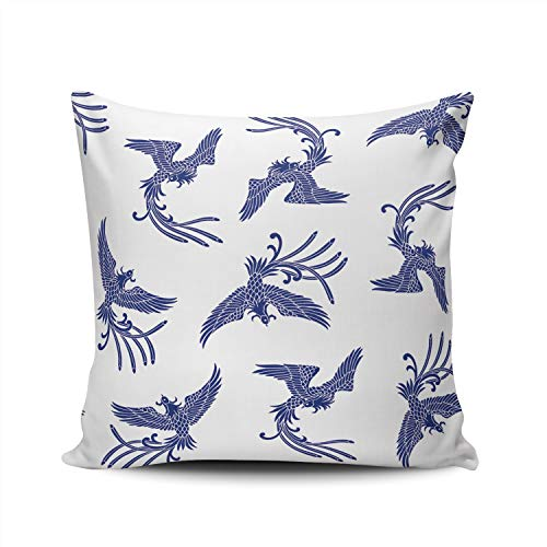 SALLEING Custom Fashion Home Decor Pillowcase Oriental Phoenix Blue Square Throw Pillow Cover Cushion Case 20x20 Inches Double Sided Print