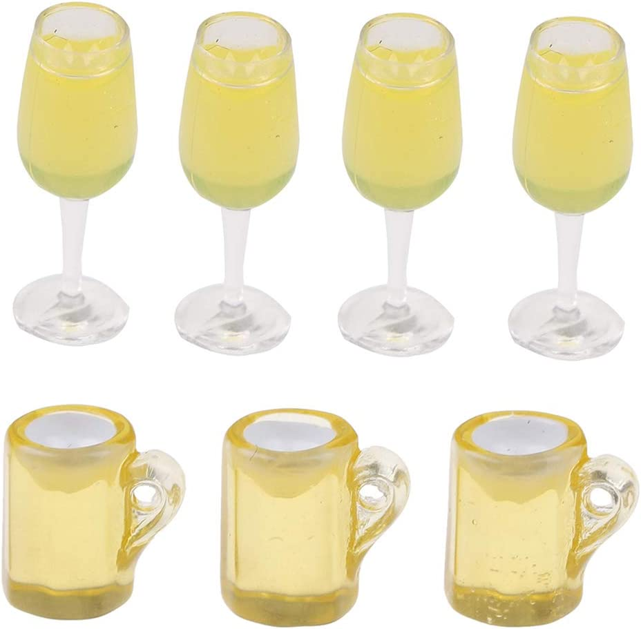 MagiDeal 1:12 Wine Glass Mugs Dolls House Miniature Dining Table Accessory