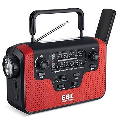 EBL Emergency Radio Dynamo Solar Hand Crank AM/FM/SW Radio Music Radio, SD Music Player, LED Flashlight Reading Camping Lamp with 3.7V 2300mAh Cell Phone Charger Batteries