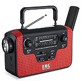 EBL Emergency Radio Dynamo Solar Hand Crank AM/FM/SW Radio Music Radio, SD Music Player, LED Flashlight Reading Camping Lamp 3.7V 2300mAh Cell Phone Charger Batteries