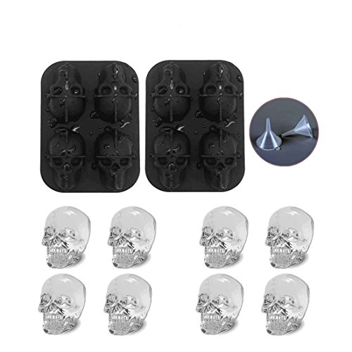 Drenky 2PCS 3D Skull Ice Cube Tray Resuable Flexible Silicone Molds for Whisky Jelly Cocktail Cola Wine Drink]()