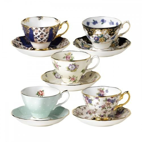 Antique Teacups And Saucers (Royal Albert 5 Piece 100 Years 1900-1940 Teacup & Saucer Set, Multicolor)