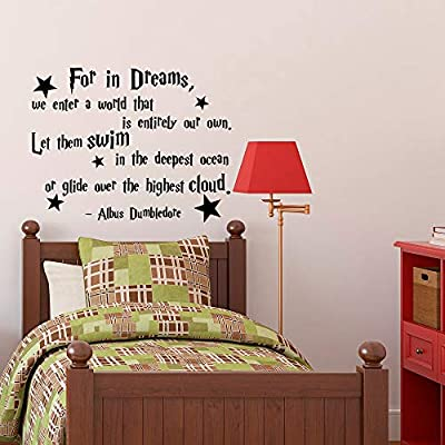 Albus Dumbledore Quote Decal Decor for in Dreams We Enter A World Harry Potter Vinyl Vinyl Wall Decal Decor Stickers Nursery Kids Baby Children Decor Made in USA: Kitchen & Dining