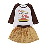 2pcs/Set Fashion Cute Baby Girls I'm JUST HERE for The Pie Shirt Tops+Tutu Sequin Skirt (Color : 90)