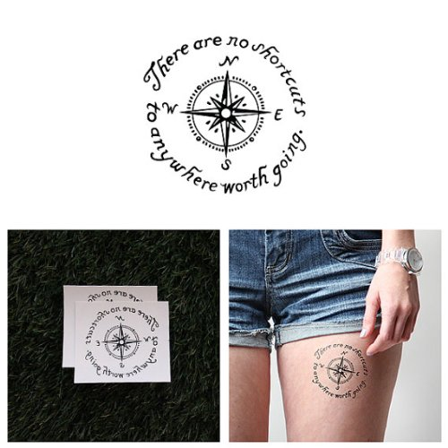 Tattify Compass Temporary Tattoo - Bypass (Set of 2) - Other Styles Available and Fashionable Temporary Tattoos