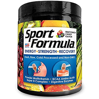 Sport Formula Daily Multivitamin BCAA Amino Acid Powder Drink Mix For Men and Women: Won't Upset Your Stomach: Powdered Fruit Punch Candy Vitamin B Energy Complex: Natural Anti Aging Immune Support