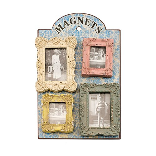 Antique Style Distressed Resin Photo Frame Magnet Set of Four, Picture Frame Refrigerator Magnets