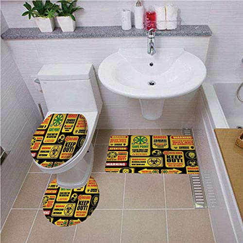 Bath mat Set Round-Shaped Toilet Mat Area Rug Toilet Lid Covers 3PCS,Zombie Decor,Apocalypse Signs Attention Danger Safe Point Evil Phrase Modern Image,Yellow Grey Red,Bath mat Set Round-Shaped - Sign Neon England New Patriots