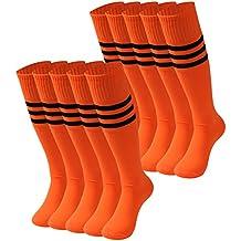Tube Socks Stripe, saounisi Unisex Knee High Football Soccer Team Socks 2/6/10 Pairs