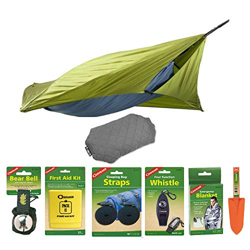 Klymit 20 Down Insulated Lightweight Sleeping Bag (Black) with Camping Accessories Bundle Outdoor Patch Kit and Rapid Air Pump Included in Bundle