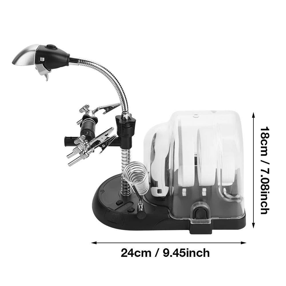 Cocoarm L/öthilfe Dritte Hand mit Lupe und Klemmen 10 LED Lupe und L/ötkolbenhalter L/öthilfe L/ötstation Vergr/ö/ßerungsglas mit 2.5X 5X 16X Lupen f/ür Reparat L/öten Reparatur Handwerk
