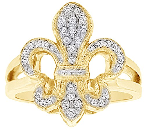 AFFY White Natural Diamond Fleur De Lis Ring in Solid Yellow Gold (0.25 Ct)