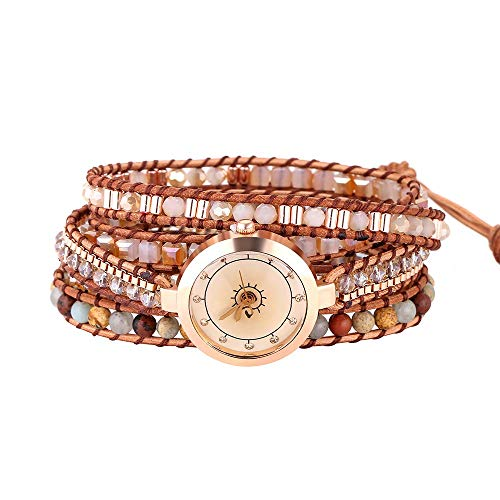 IUNIQUEEN Creative Design Stone Crystal 5 Wrap Watch Bracelet for Women Collection (Watch Wrap Bracelet 2) (Watch Bracelet Leather)
