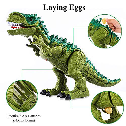 TEMI Electronic Walking Dinosaur Toys for Kids Boys Girls, Battery Powered Jurassic Green Tyrannosaurus Rex Model T-Rex Dragon with Sounds and Projection Lights, Real Movement, Laying Eggs by TEMI (Image #2)