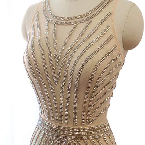 Strass Maxi Ausschnitt V Mermaid Love Prom Lange King's Formale Kleider Abendkleider Champagner2 Frauen ERqwnzxa