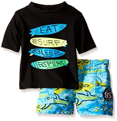 Osh Kosh Baby Eat Surf Sleep Repeat Short Sleeve Rash Guard Set, Black, 24 Months