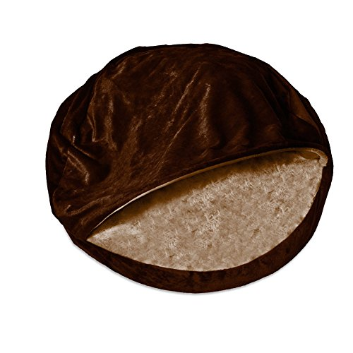 1 Piece Espresso Orthopedic Large 35 Inches Snuggery Burrow Comfort Pet Bed, Dark Brown Color Round Design Ortho Dog Foam Bedding Zippered Removable Cover Hood Flexible Hoop, Polyester Microvelvet For Sale