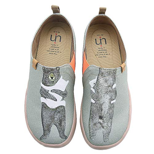 UIN Women's Bear's Hug Travel Canvas Slip-on Shoe Grayish-Green -