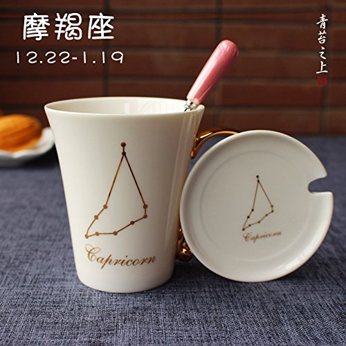 WU-Mug 12 constellation cup mug with cover scoop creative ceramic Water Bowl Birthday Gift Cup couples coffee cup, the color of the - Scoop Mug