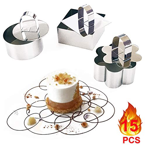 Cake Ring | Mold by Petits Desserts - 12 Stainless Steel Baking Rings | Molds + 3 Food Pushers - Cooking Rings for Mousse Japanese Fluffy Pancakes Rice Salads Fancy Dessert - For Catering and Home Use