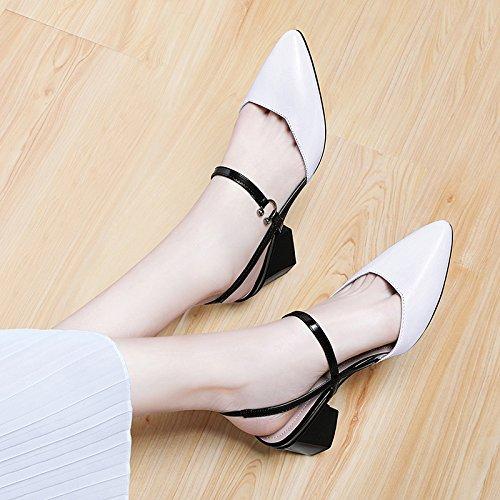 Zapatos altos Sra tacón mujer grueso VIVIOO de Summer Zapatos salvaje alto tacón con alto de white con Baotou Sandalias tacones de con de verano tacón sandalias HHqP1E