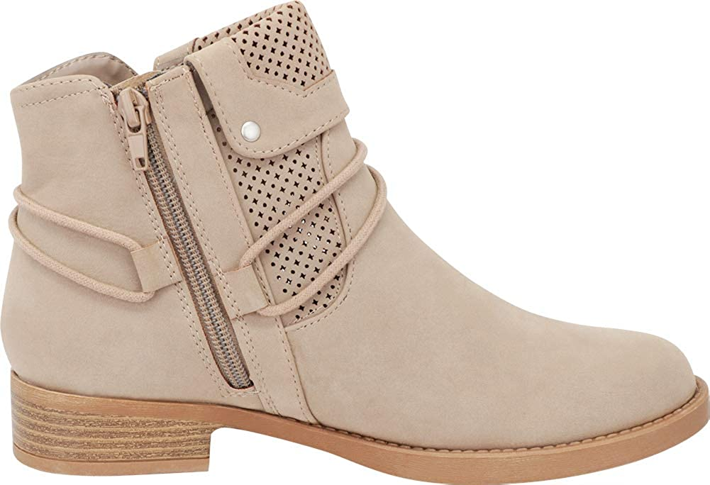 Cambridge Select Womens Foldover Cuff Wraparound Tie Perforated Low Heel Ankle Bootie
