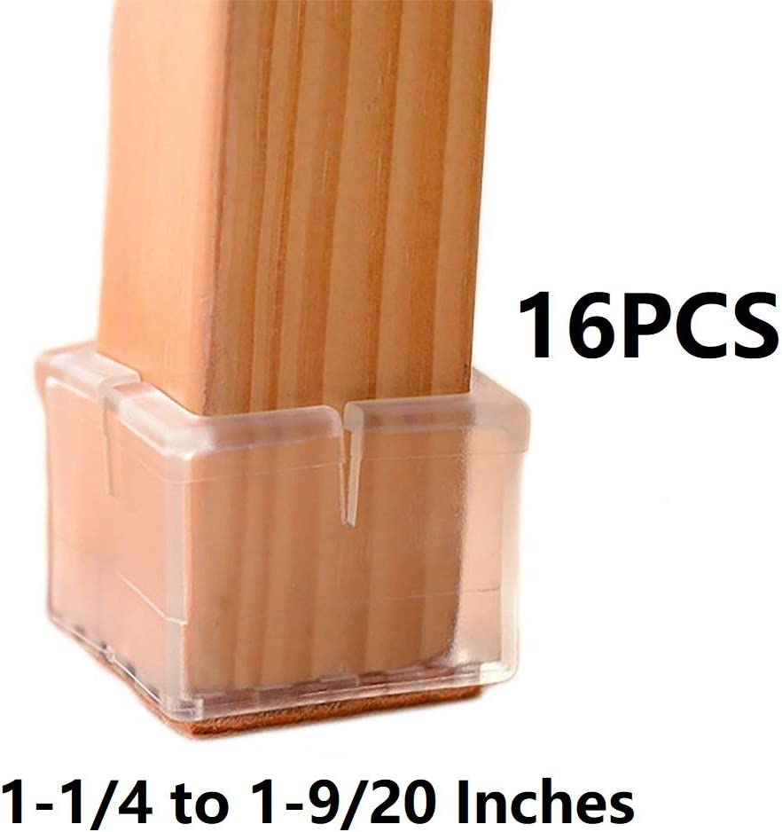 Bloss Furniture Cups Chair Leg Floor Protectors Square, Silicone Chair Leg Caps, Chair Tips to Prevent Scratches The Floors, 16 Pack Square Length 1-1/4 to 1-9/20 Inches(3.2-3.7cm)