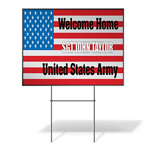 - Welcome Home Name U.S Army Flag Custom Personalized Yard Sign US Flag Red Wheatherproof for Sale Sign Sets of 2, 3, 5 24INx18IN One Side Print Set of 5