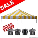 ABCCANOPY (23+ colors) 100% Waterproof 10×10 Replacement Top Cover for 10×10 Pop up Canopy Tent, Bonus 4x Weight Bag (Stripe gold)