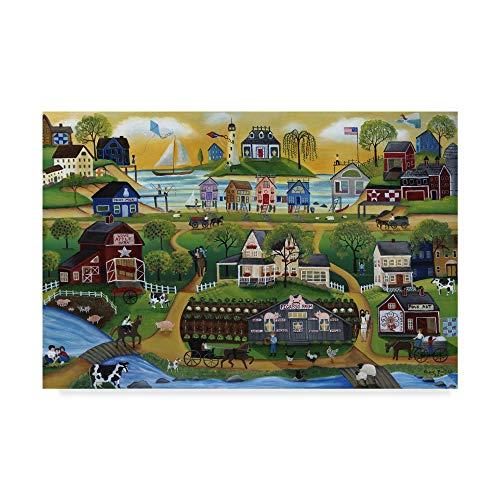 Picasso Primitive Art - Trademark Fine Art Picasso Folk Art Farm Cheryl Bartley, 30x47-Inch Fine, Multicolor