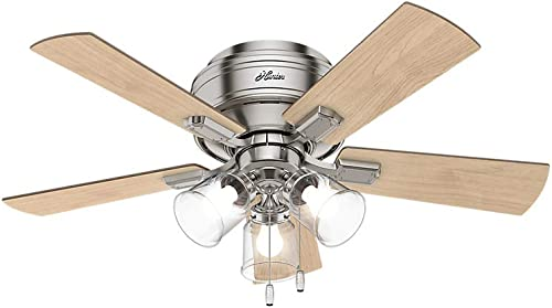 Hunter Crestfield Indoor Low Profile Ceiling Fan with LED Light and Pull Chain Control, 42 , Brushed Nickel