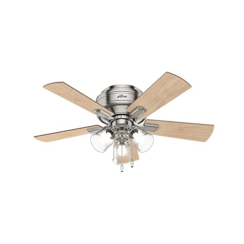 Hunter Indoor Low Profile Ceiling Fan, with pull chain control – Crestfield 42 inch, Brushed Nickel, 52154