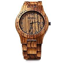 Bewell ZS - W086B Wood Men Watch Analog Quartz Movement Date Display(Zebra Wood)