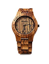 Bewell ZS - W086B Wood Men Watch Analog Quartz Movement Date Display(Zebra Wood)