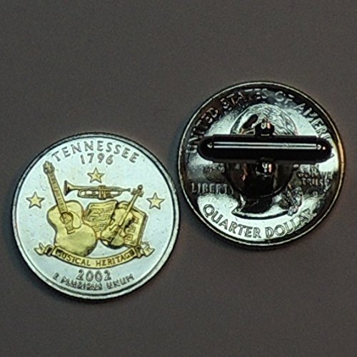 Tennessee Statehood Quarter - Gorgeous 2 Toned(Uniquely Hand Done) Gold on Silver coin cufflinks for men - men's jewelry men's accessories for him groomsmen