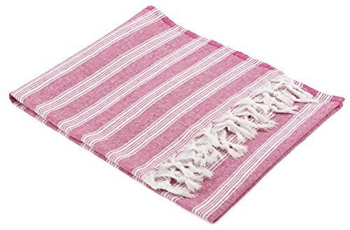 The Turkish Emporium Peshtamal Peshtemal Pestemal Fouta sarong kikoy Towels for Beaches Pool Turkish Bath Hamam Spa Hammam (Pink)