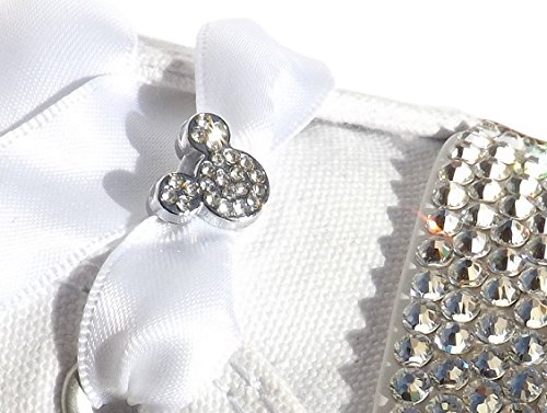 Charm White Satin Shoe (A Pair of Women's Stunning Crystal Mickey Head Shoe / Trainer Charms with a FREE Pair of Our White Satin Ribbon Laces)