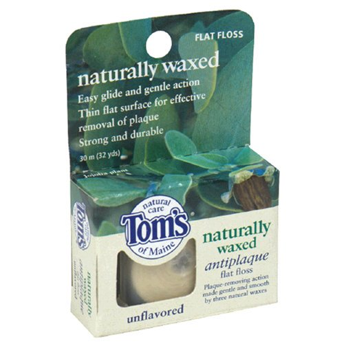 Tom's of Maine Naturally Waxed Antiplaque Flat Floss, Unflavored, 32-Yard Rolls (Pack of 6)