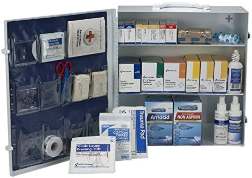 100 Person 3 Shelf First Aid Metal Cabinet, ANSI A+, Type I & II with Medications - OSHA Compliant 2018 Trauma Kit First Aid Kit for Businesses Emergency Kit