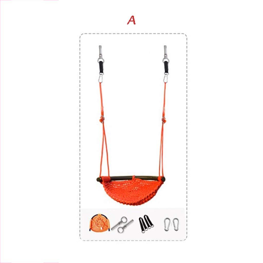 スイング子供屋内と屋外の子供のおもちゃホーム屋外ベビーチェアベビーロープネットシートアンチフリップエンターテインメント減圧玩具 UOMUN ( Color : A ) B07SSV1MV3