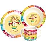 Sigikid 24403, Chico y Chica Niño, vajilla de melamina Juego 3 piezas: plato/recipiente/taza multicolor Conejo del arco iris '