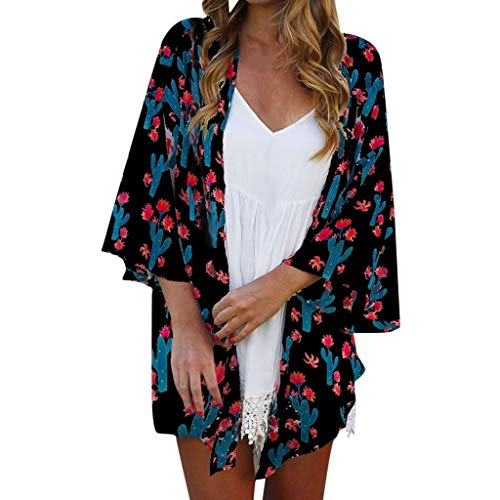 QIQIU Loose Cactus Print Cardigan Women's 2019 Beach Summer Flare Half Sleeve Sun Protection Tops Black
