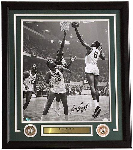 Bill Russell Signed Autographed Framed 16x20 Boston Celtics Lay Up Photo JSA Certified - Bill Russell Signed Photograph