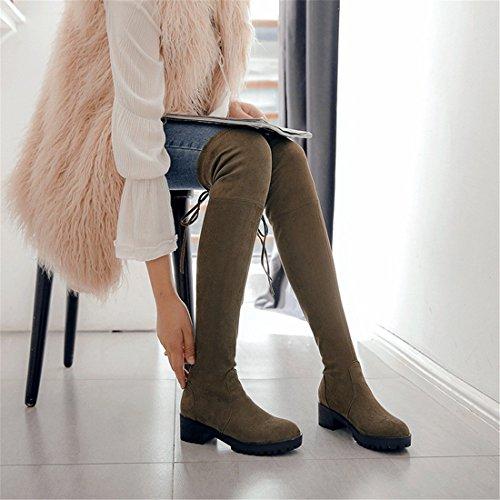 stivali e da code con stivali ginocchio basso legati e pelle da donna Sandalette grandi Green Autunno stivali al scamosciata ginocchio donna al con inverno DEDE in vOHvXqZ