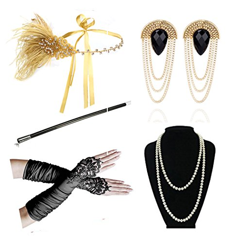 1920s Accessories Headband Earrings Necklace Gloves Cigarette Holder Flapper Costume Accessories Set for Women (Great Gatsby Costumes Female)