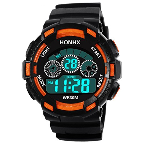 Paymenow Clearance! Men Boys Children Sports Watches LED Digital Alarm Date Wrist Watch Electronic Watch (D)