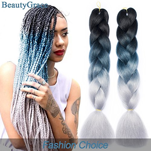 BeautyGrace 5 Packs Ombre Jumbo Braiding Hair Extensions Kanekalon Synthetic Ombre Braid Hair Expressions (24 inch, Black-Blue-Grey)
