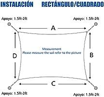 Sunnylaxx Vela de Sombra Rectangular 4 x 6 Metros, toldo ...